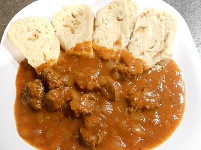 Czech Vegan In America Czech Goulash With Bread Dumplings Czech Recipes Bread Dumplings Slovak Recipes