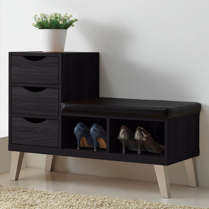 30 Eye Catching Entryway Benches For Your Home: Baxton Studio Arielle Wood Shoe Storage Bench In 2019