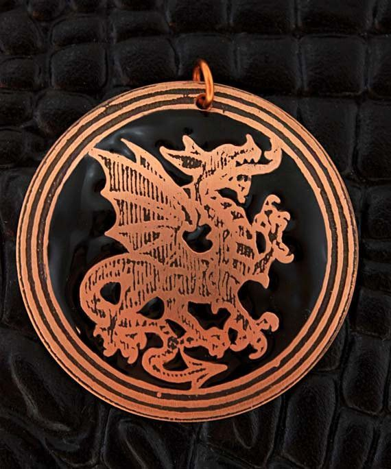 Welsh dragon round copper pendant with black inlay