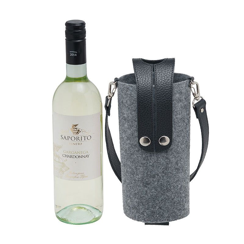 Felt Wine Bag Case With Buttons Bw 12 14 Felt Beverage Holder With Handles Stylish Wine Cozy With Straps Wine Case Wine Bottle Carrier Wine Bag