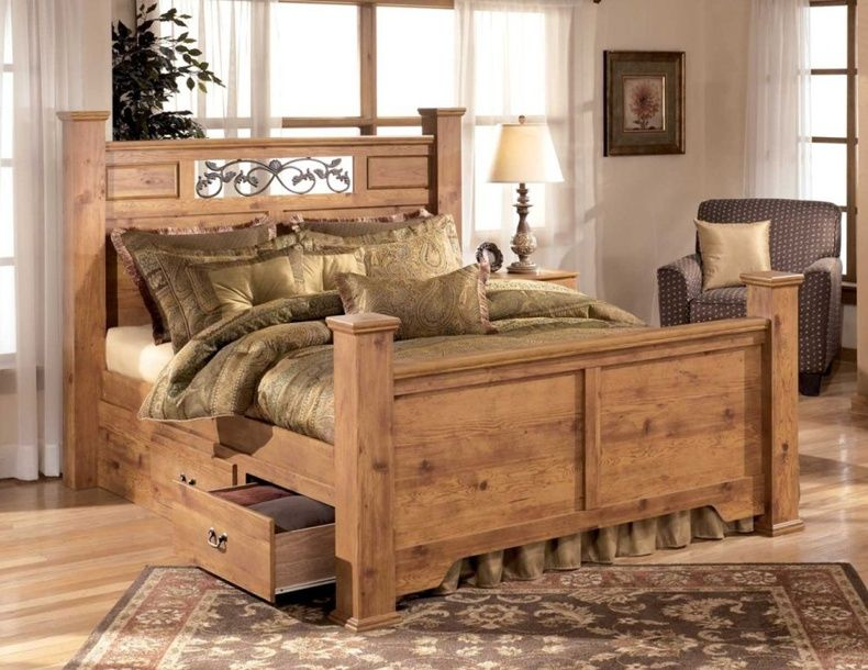 Pine Wood Bed With Storage
