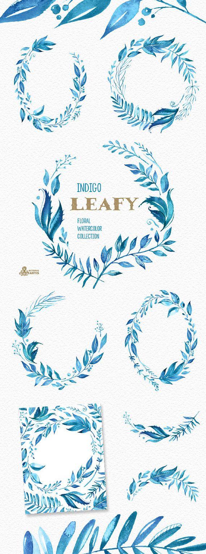 Ähnliche Artikel wie Grünen Indigo. Aquarell Blumen Kränze, Zweige, Blätter, Rahmen, blaue Tinte, Hochzeitseinladung, Grußkarte, diy Cliparts, Blatt auf Etsy #craftsaleitems