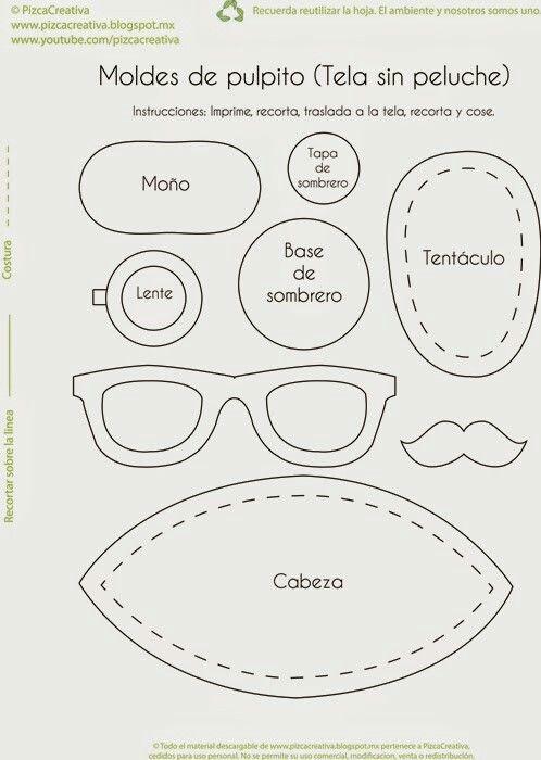 Molde pulpo kawaii | Cosas por hacer | Pinterest | Plushie patterns ...