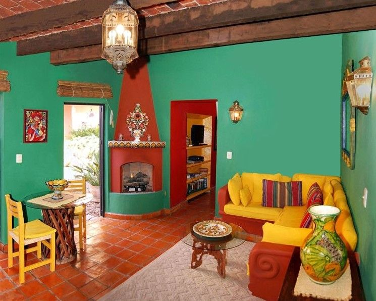 Living room with bright mexican colours casas for Mexican living room decor