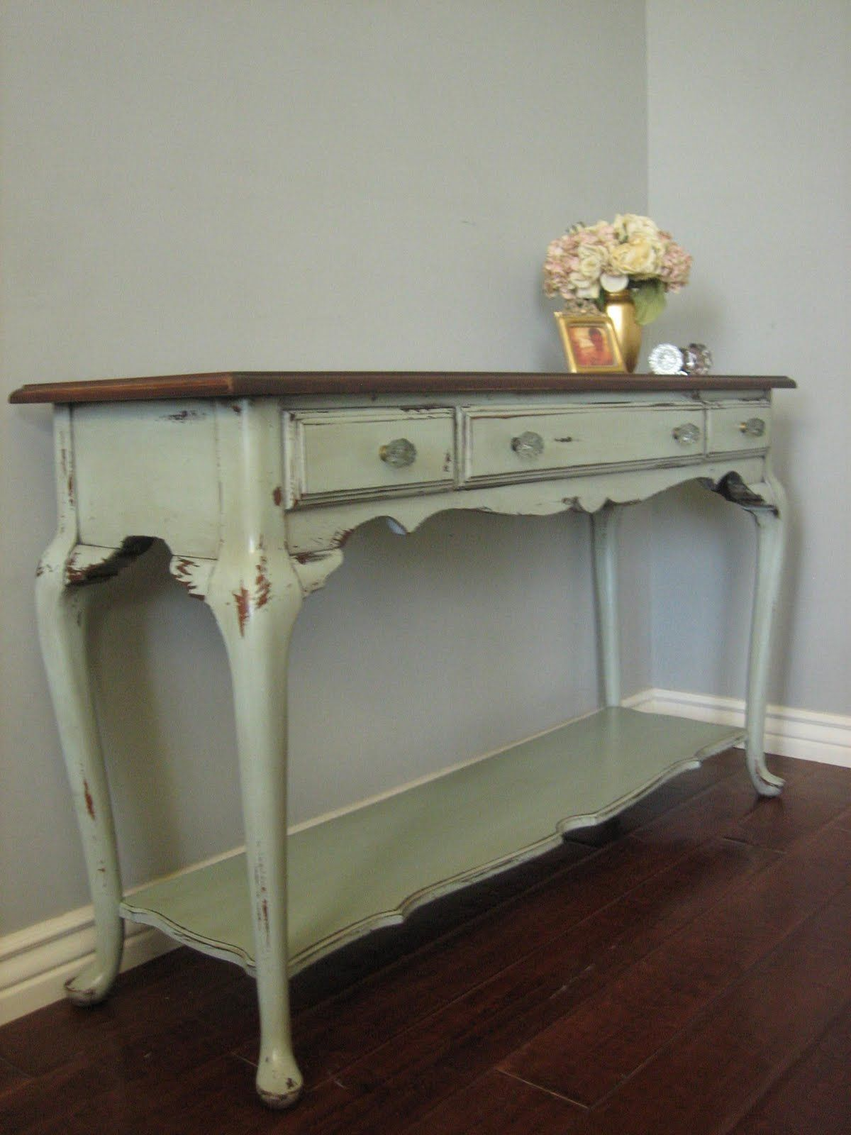 Turquoise Painted Furniture With Green Accents | Country Cottage Queen Ann  Refinished Furniture Euro European Paint