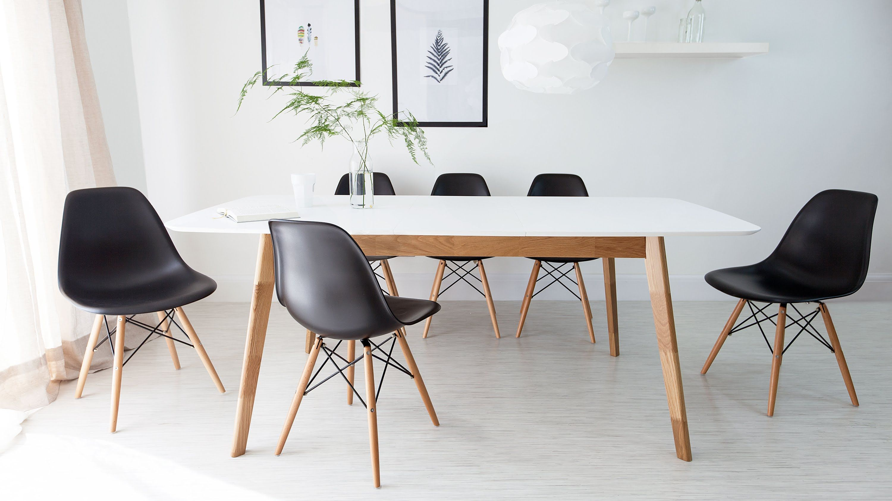 White And Oak Extending Dining Table And Eames Style Chairs