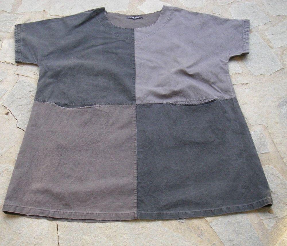 Gudrun Sjöden Leinen Kleid Shirt Tunika Hängerchen Lagenlook Gr