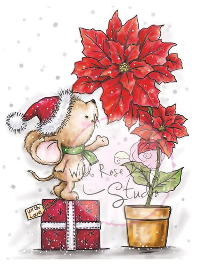Christmas Mouse Poinsettia Unmounted Rubber Stamp Wild