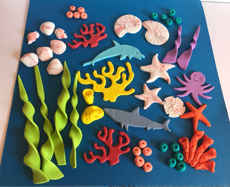 Fondant Under The Sea Kit Edible Sugar Cake Cupcake Topper Ocean