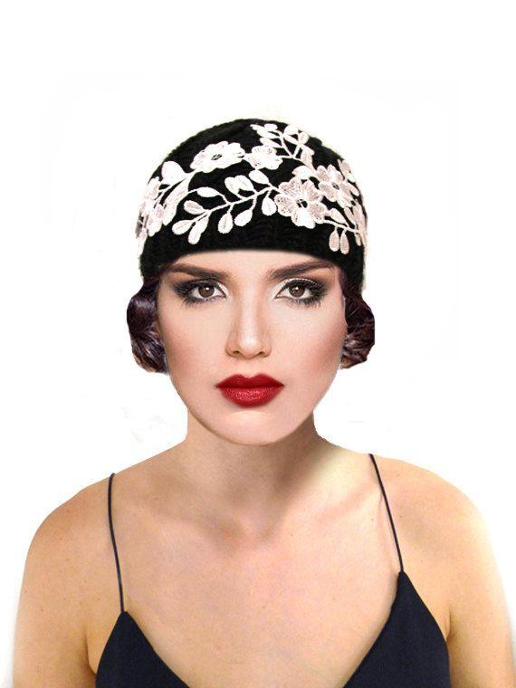 c4a1e2fb518 Retro Cloche Crochet Hat Black Knit Flapper White Lace 1920s Great Gatsby