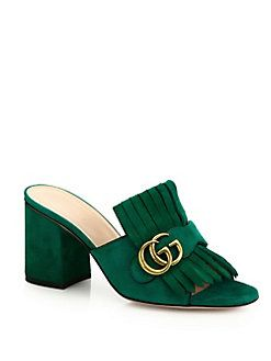 41dd1f3f5 Gucci - Marmont GG Kiltie Suede Block-Heel Mules | shoes Gucci ...