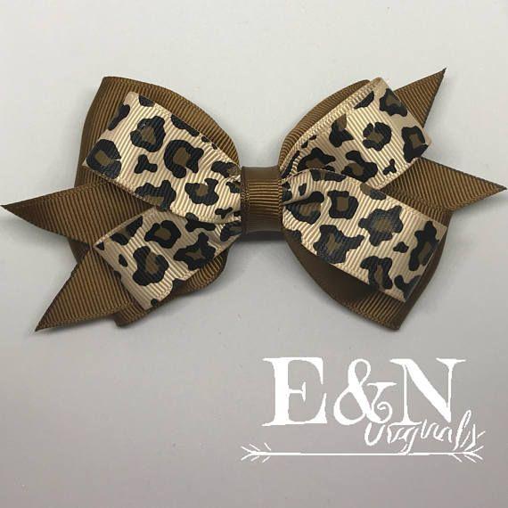Handmade Hair Bow Leopard Print