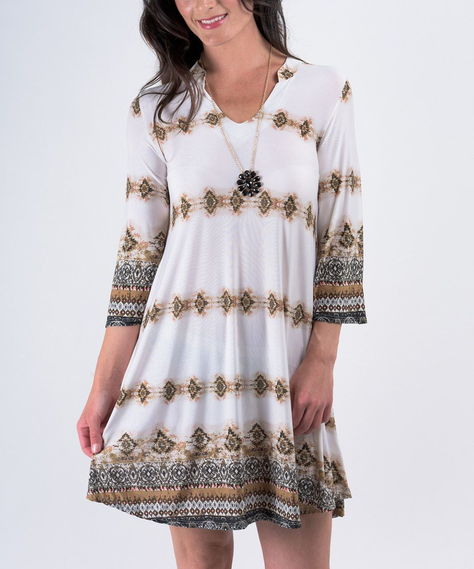 Look at this #zulilyfind! Miss Lily Ivory & Black Geometric Three-Quarter Sleeve Tunic by Miss Lily #zulilyfinds