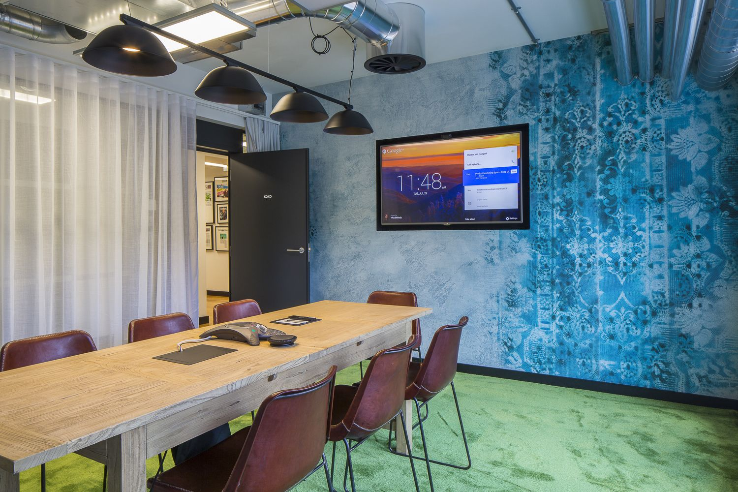 Office interior design vintage retro blue wallpaper in spotify meeting room also rh pinterest