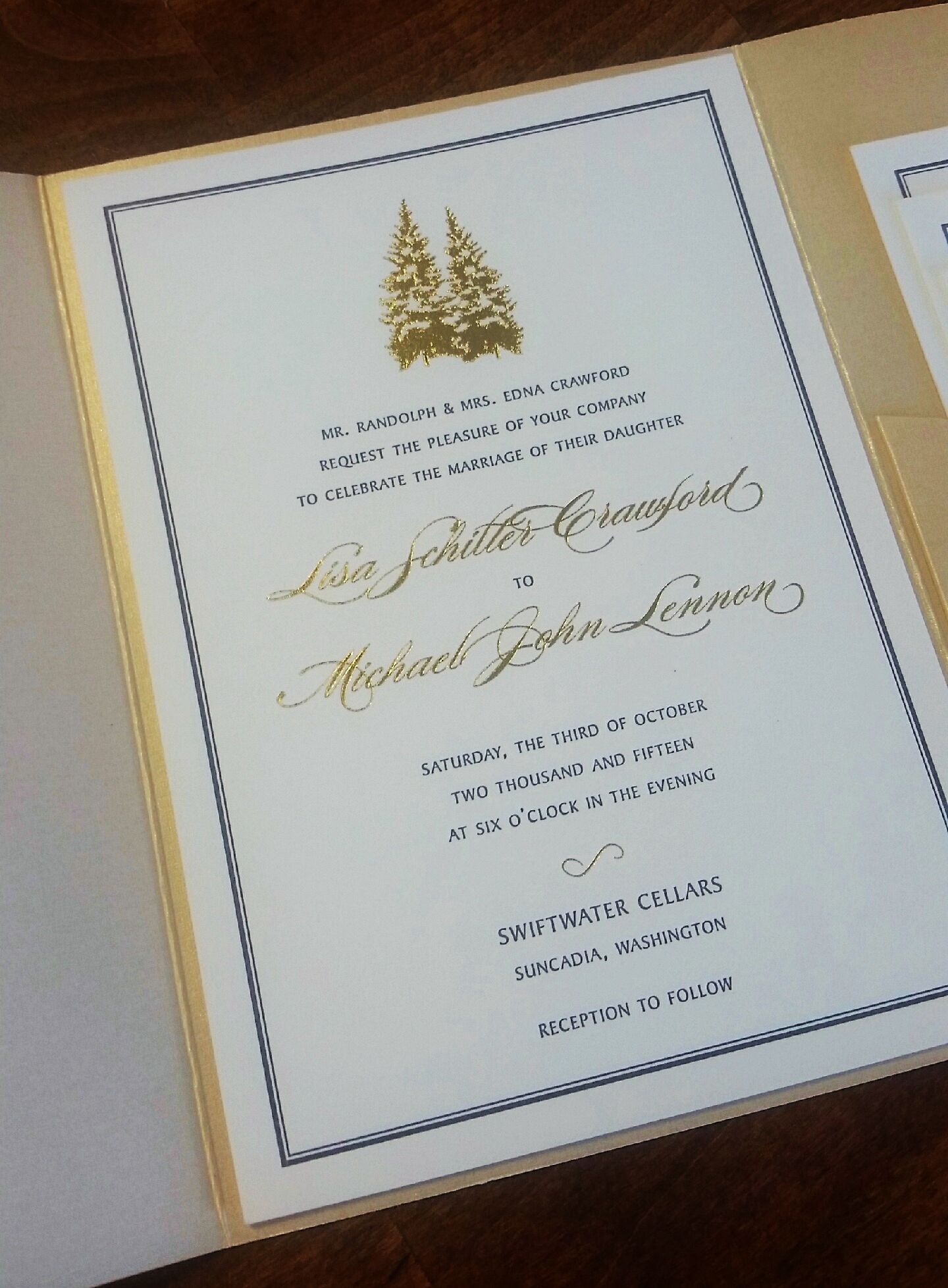 Custom Sequoia letterpress and gold foil stamped wedding invitation ...