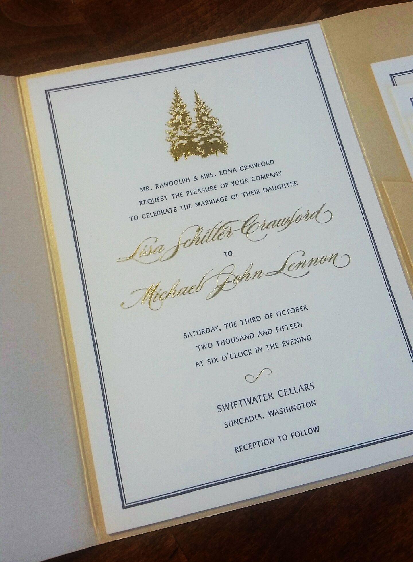 Custom Sequoia letterpress and gold foil stamped wedding invitation ...