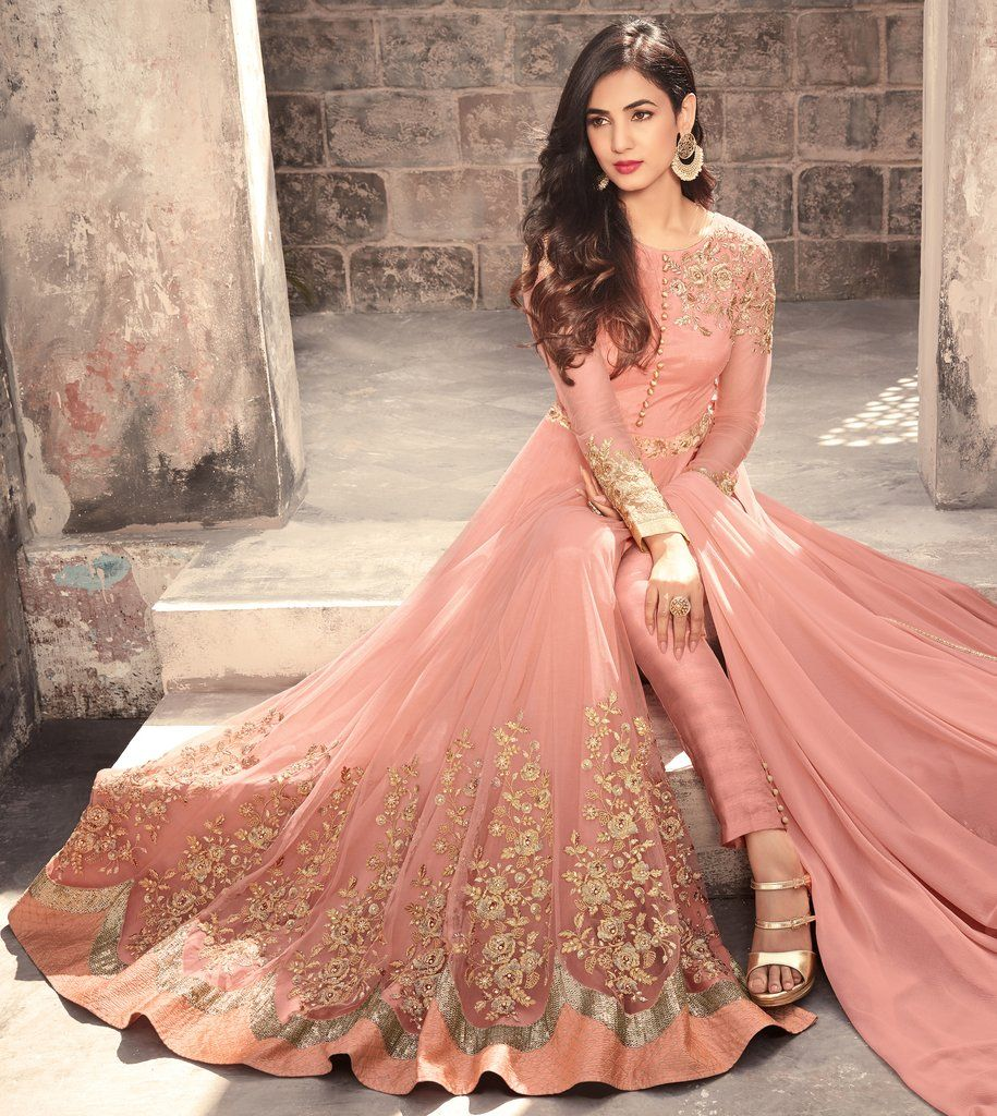 b9b5be13bce Salmon Peach Designer Embroidered Net Party Wear Anarkali Suit in ...