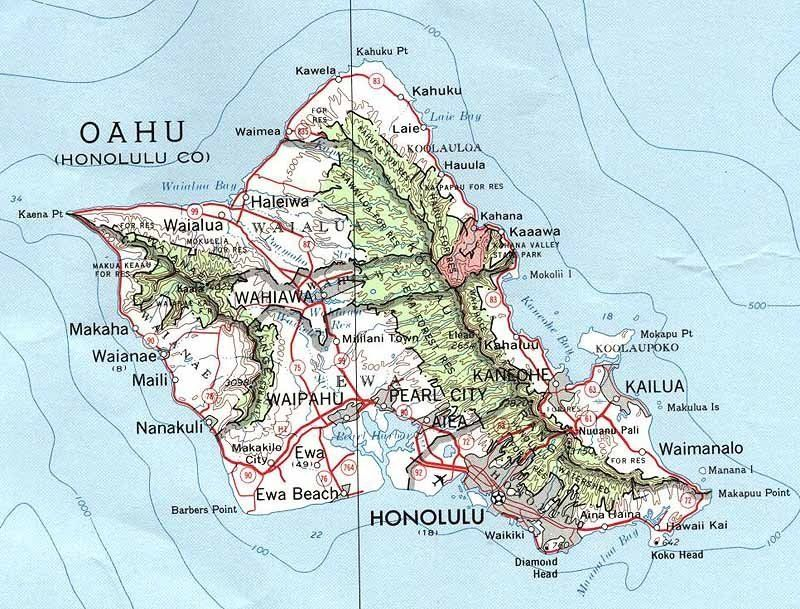 PhysicalMapofOahu maps of Oahu are obviously older ones