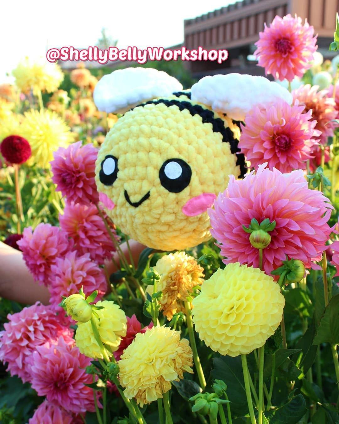 Big Crochet Bee Tiktok Plushie Shellybellyworkshop On Etsy Com Instagram Tiktok Crochet Bee Handmade Handmade Crochet