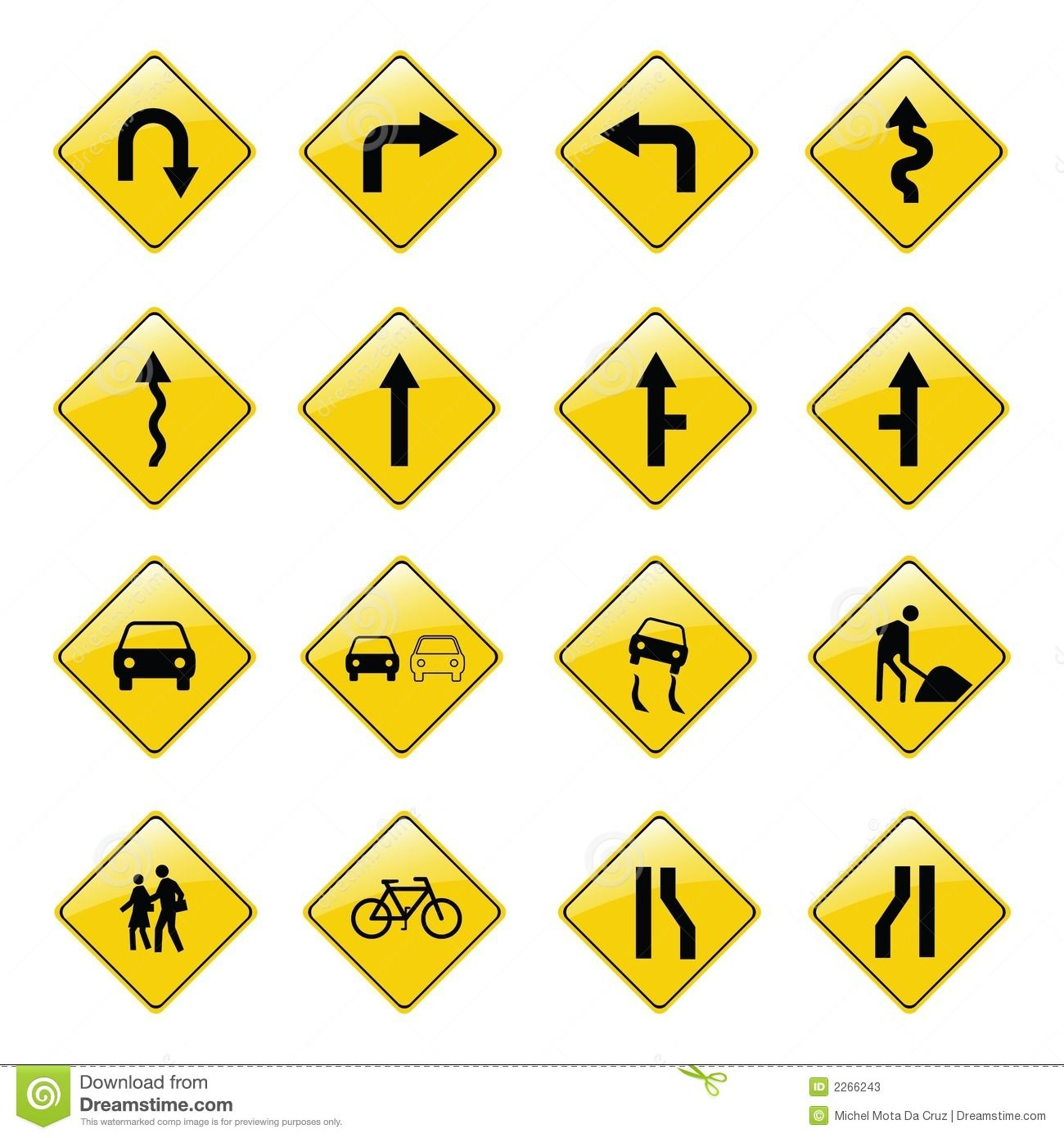 Traffic Signs In Yellow To Attract Attention