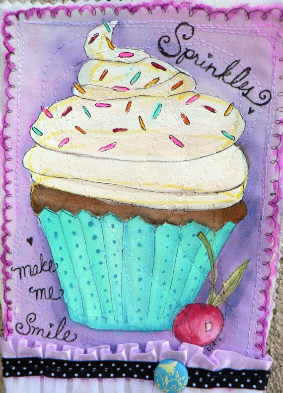 $16.00 Adorable cupcake on fabric art