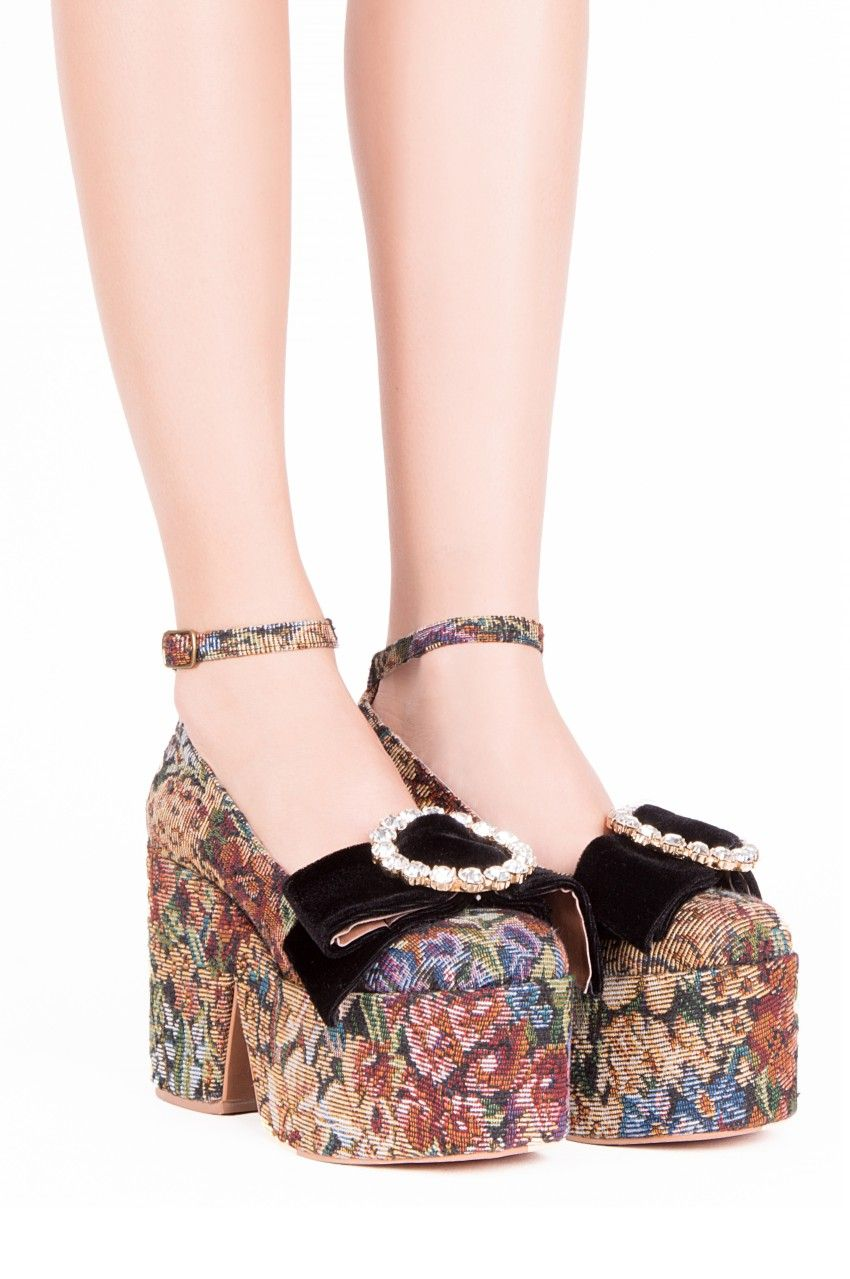 1a1a98f9e0f Jeffrey Campbell Shoes NAYA-BOW Shop All in Multi Tapestry Blk ...