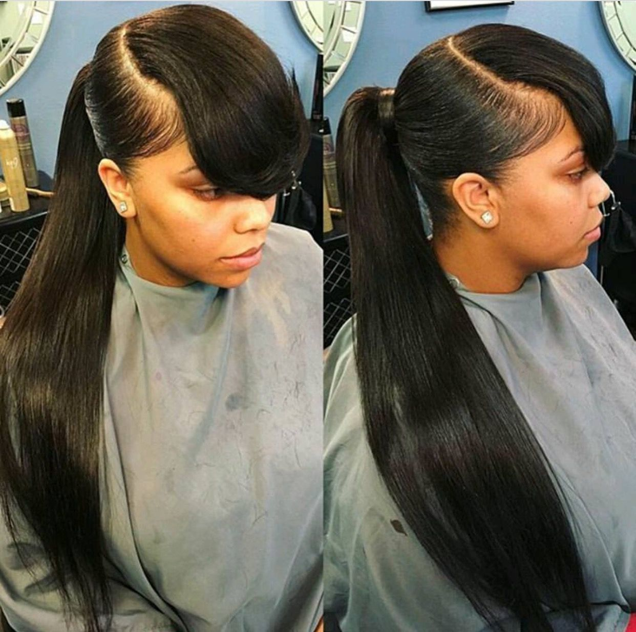 invisible ponytail with side bang | hairweavekilla | pinterest