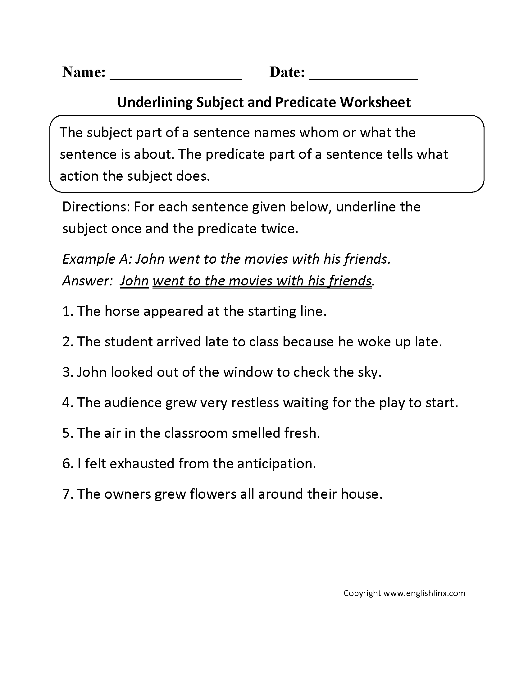 Underlining Subject Or Predicate Worksheet