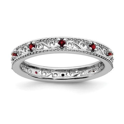 Sterling Silver Stackable Expressions Garnet Filigree Ring Sparkle Jade In 2020 White Topaz Rings Trendy Diamond Ring Filigree Ring