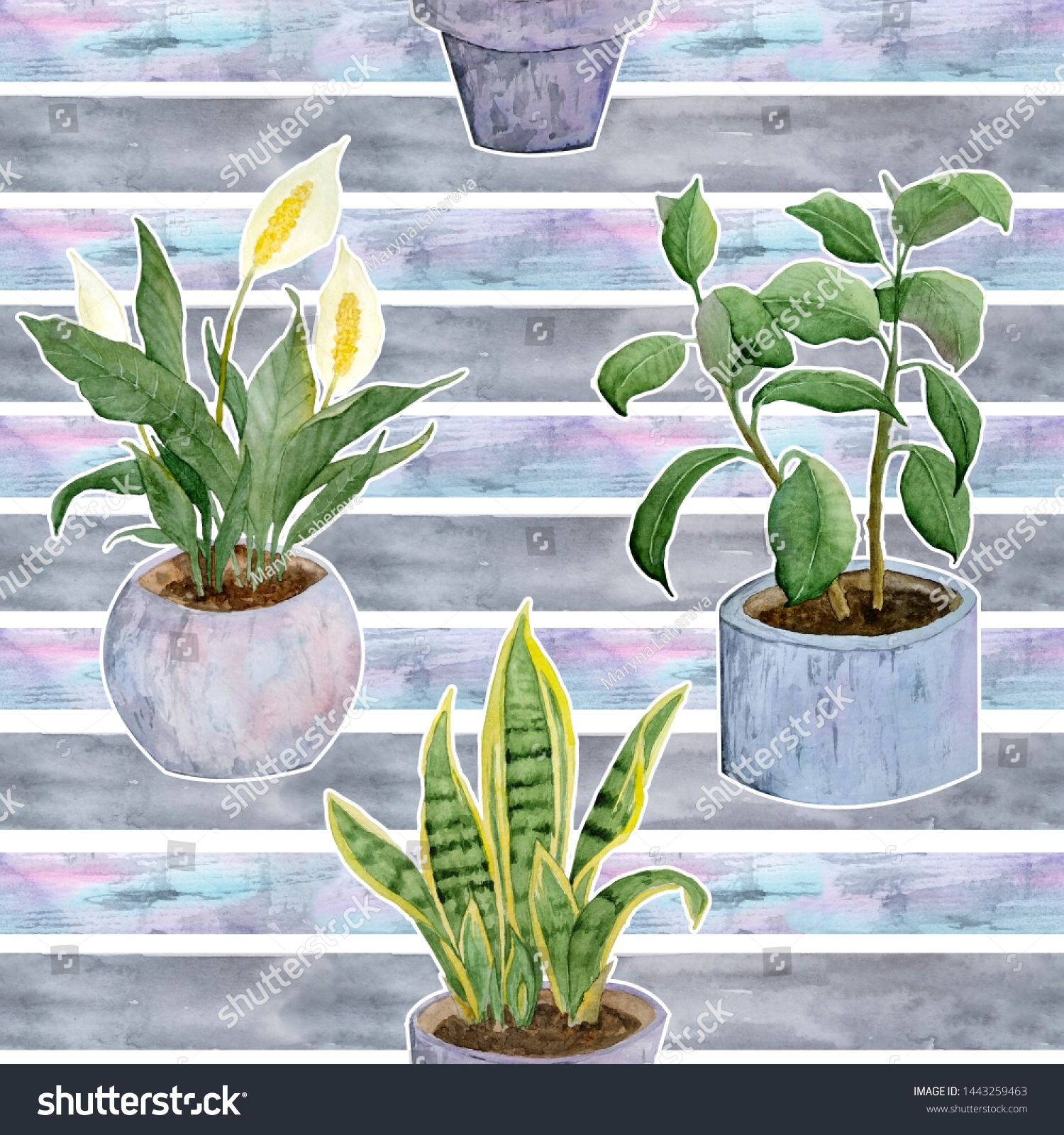 seamless watercolor hand drawn pattern with indoor potted