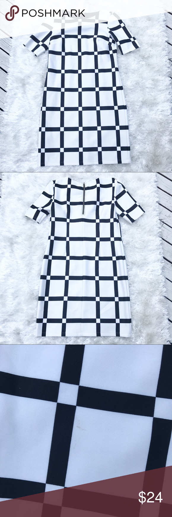 B&W Geometric Square Dress Square pattern dress from RMLL. Black and white. Small marks on bottom of dress (see photo). Size 8. Dresses