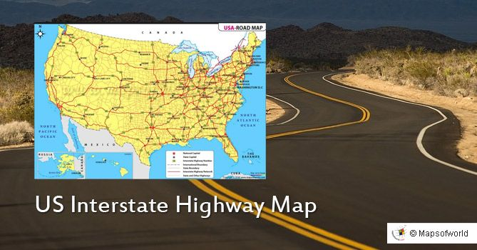 US Interstate Map shows state capitals and highway networks ...