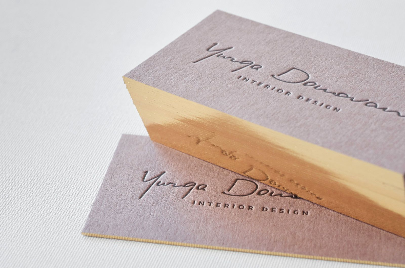 Brown business cards with single gilded edges | Letterpresses ...