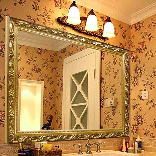 Decorative Large Wall Mounted Mirror with Baroque Style Wooden Frame ...