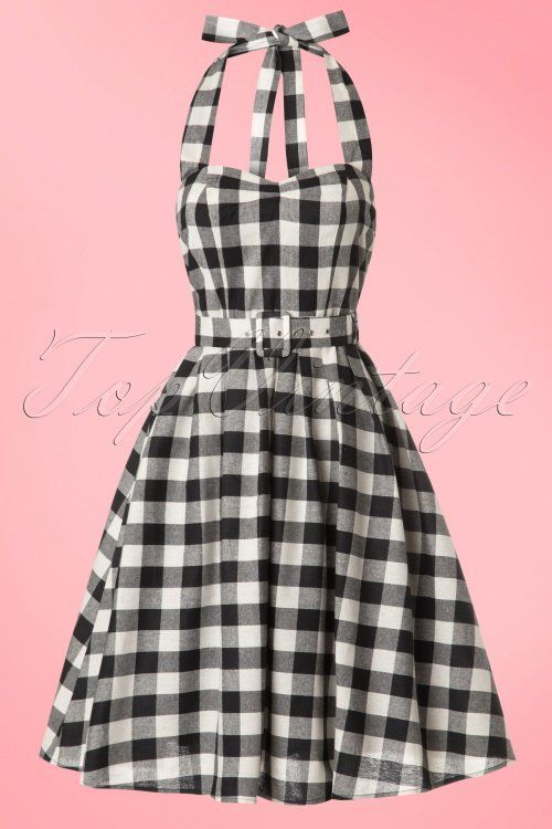 96fc3dac16293 Dolly and Dotty Sophie Two Tone Black And white Checked Halter Dress 102 14  18182 20160616 0007W