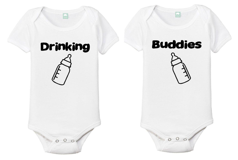 e543888dc Drinking Buddies Onesie set, Twin set of Onesies, Twins, Drinking buddy  twins, Funny shirts for twins,Onesies for twins,Matching Twin onesie by ...