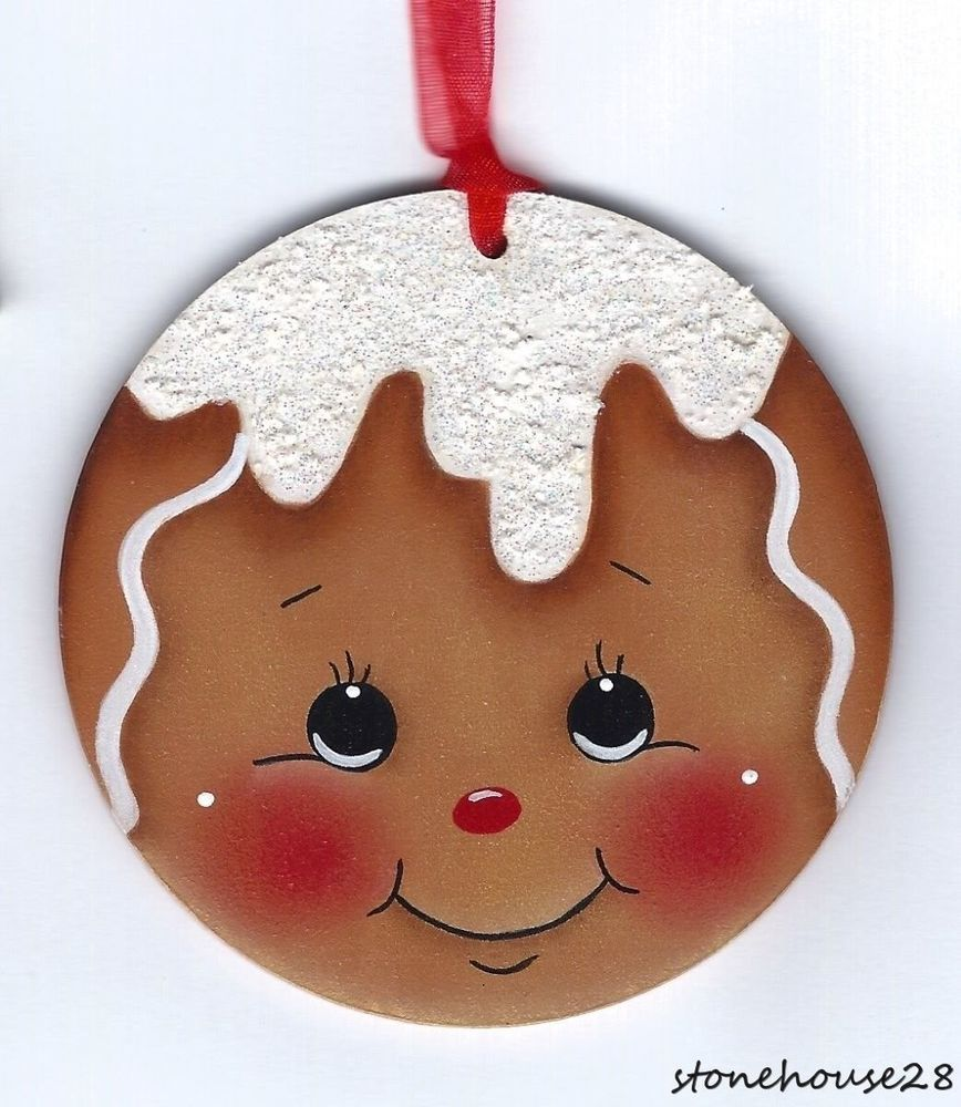 Hp Gingerbread Face With Sparkly Icing Ornament Christmas Ornament Crafts Painted Christmas Ornaments Gingerbread Crafts