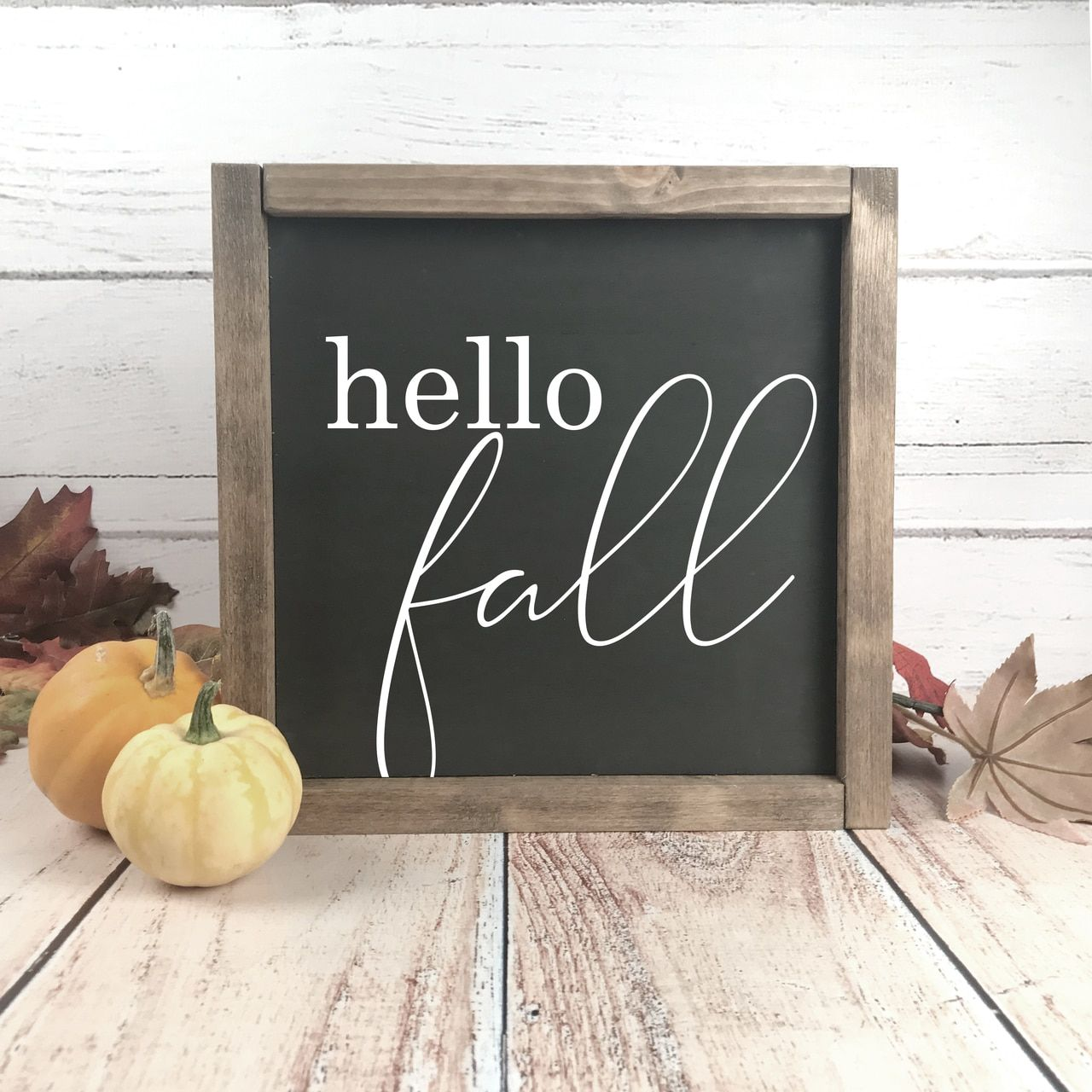 Hello Fall Sign. Shop our Fall Farmhouse Wood Signs. #hellofall #falldecor #fallwoodsign #hellofall