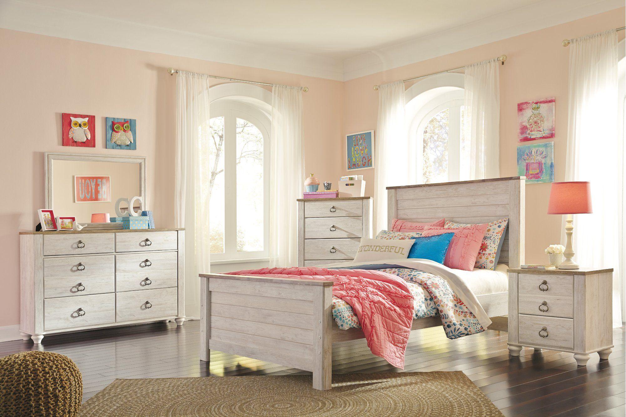 Classic Rustic Whitewash 4 Piece Full Bedroom Set Millhaven Classic Bedroom Furniture Bedroom Furniture Sets Furniture
