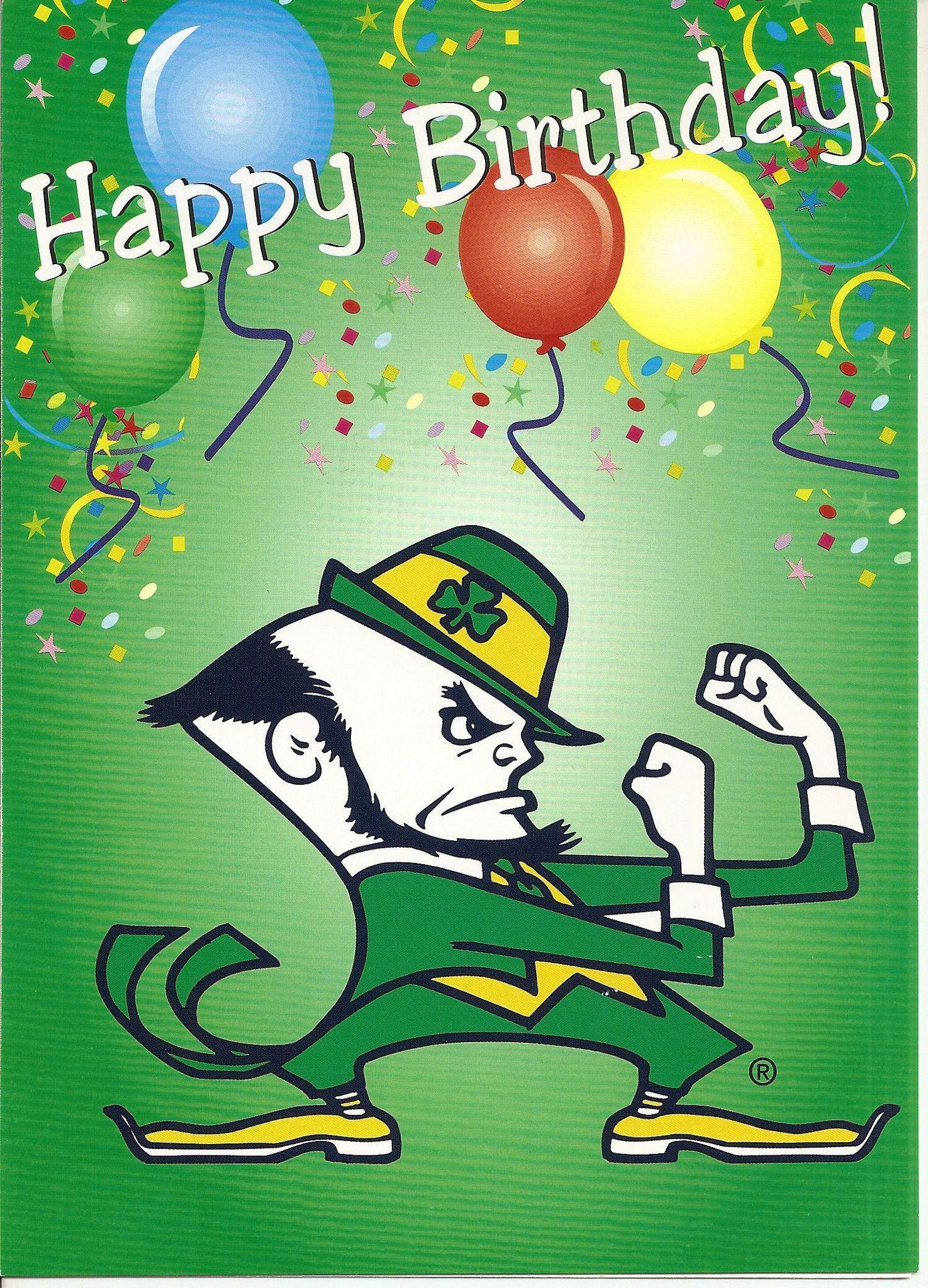 Notre Dame Fighting Irish Happy Birthday Greeting Card Irish