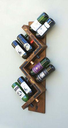 Zig Zag Wine Rack Rustic Wood Wall Mounted Wine Bottle Holder
