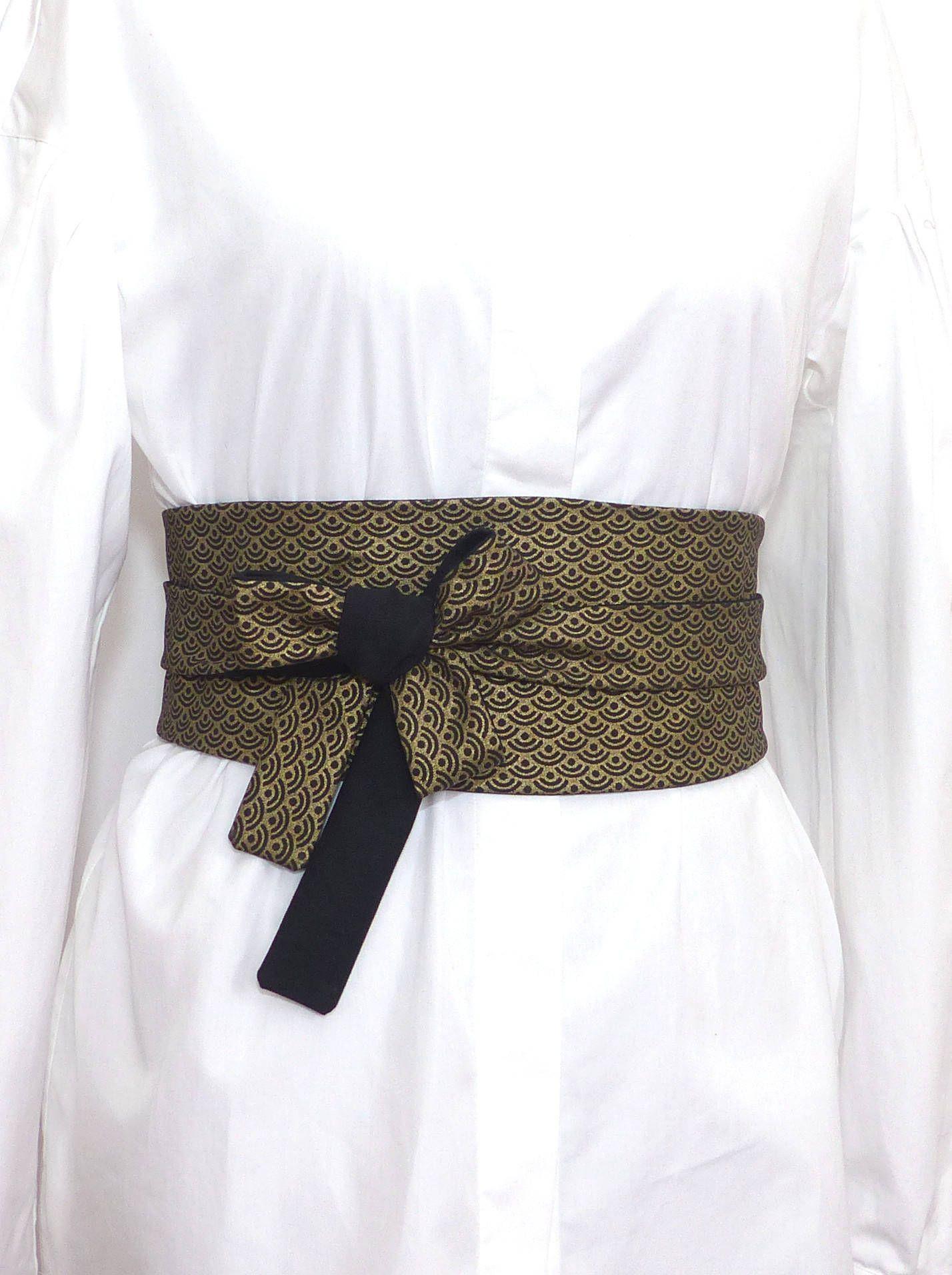 bef863a22813 Noir et Dorée Ceinture Obi à nouer, large, réversible, coton japonais, haut