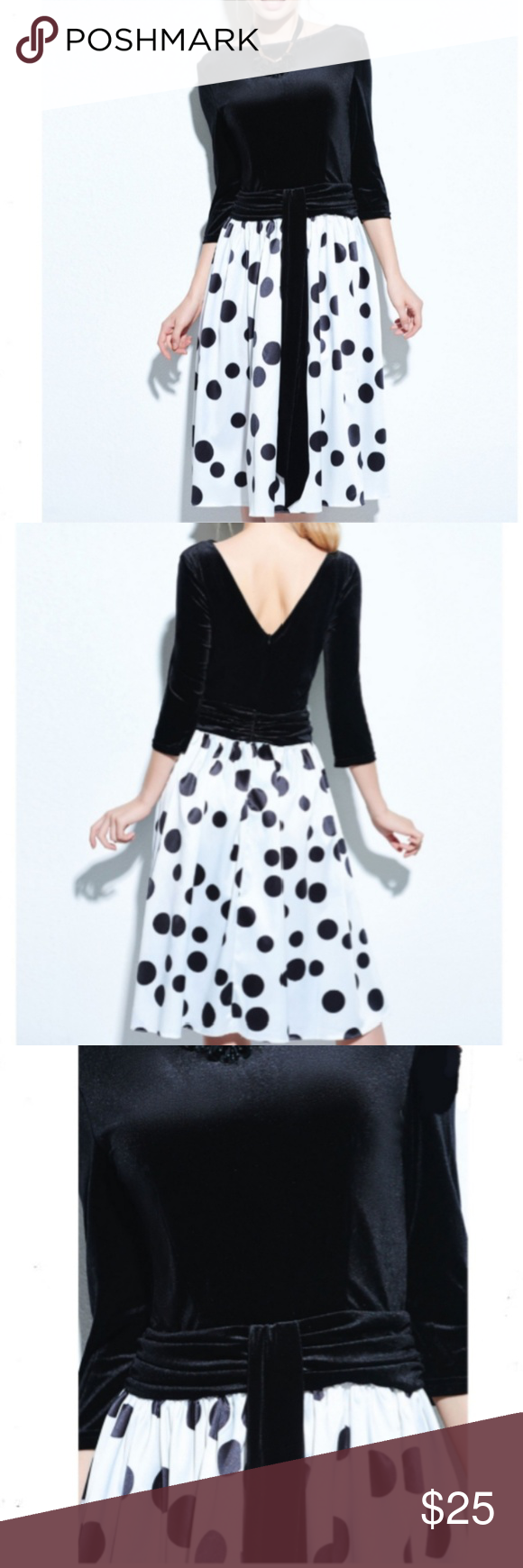 Black Color Block Polka Dots A-Line Dress Sz L/XL NWT Black Color block backless polka dots A-Line tea length dress 3/4 length sleeves, Stretchy top with back zipper, size L/XL  the tag says xxl but it's from China and runs smaller than USA sizes. Dresses Backless #backlesscocktaildress