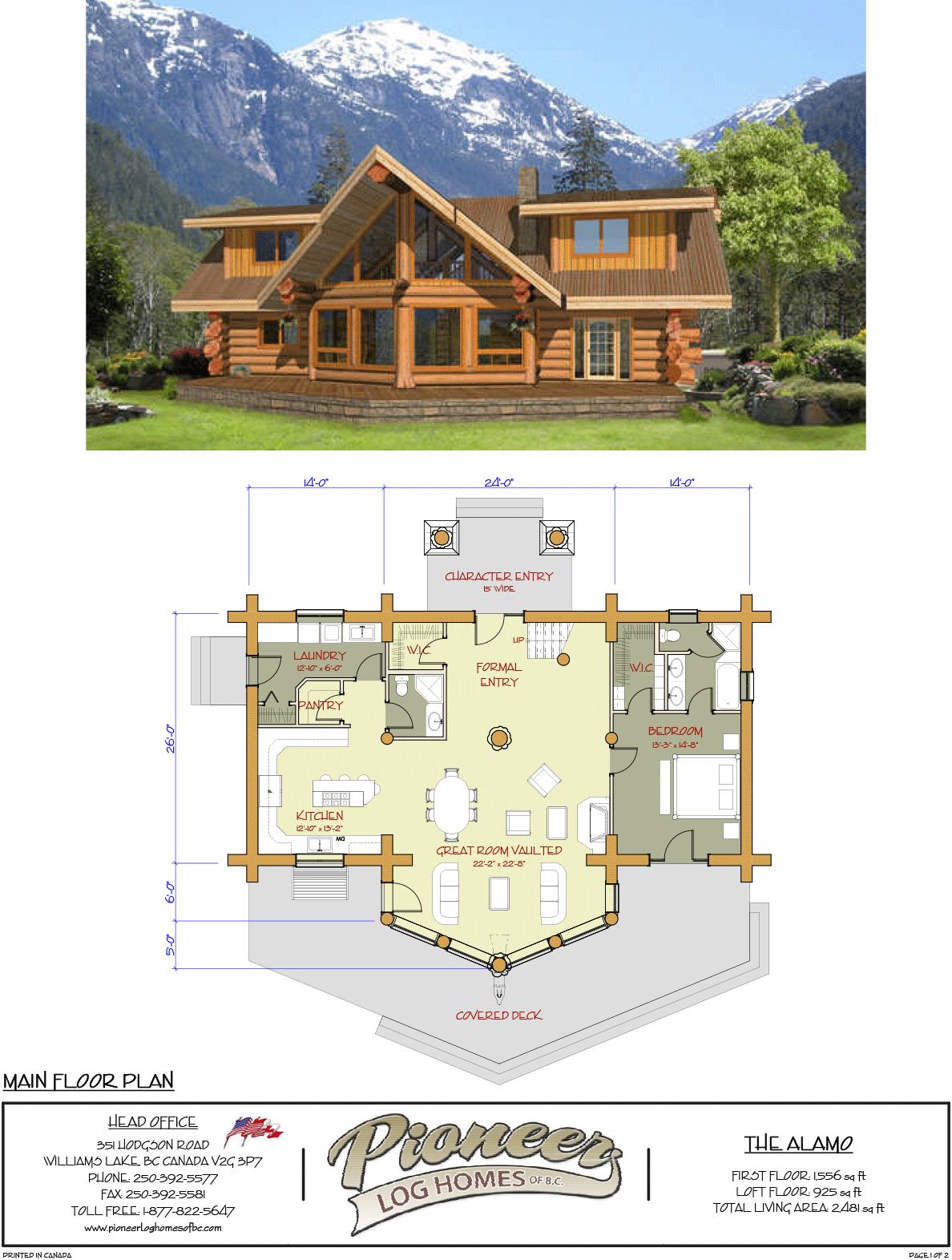 Alamo Log Pioneer Log Homes Midwest Barn House Plans Log Cabin Floor Plans Log Home Floor Plans