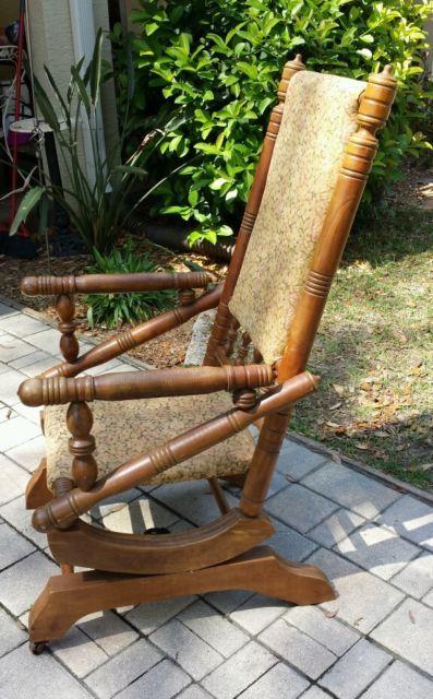 Antique Victorian Eastlake Carved Walnut Platform Rocker