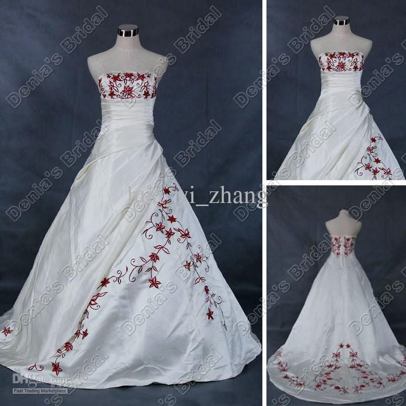 Stunning Wedding Dresses With Red Trim Contemporary - Styles ...