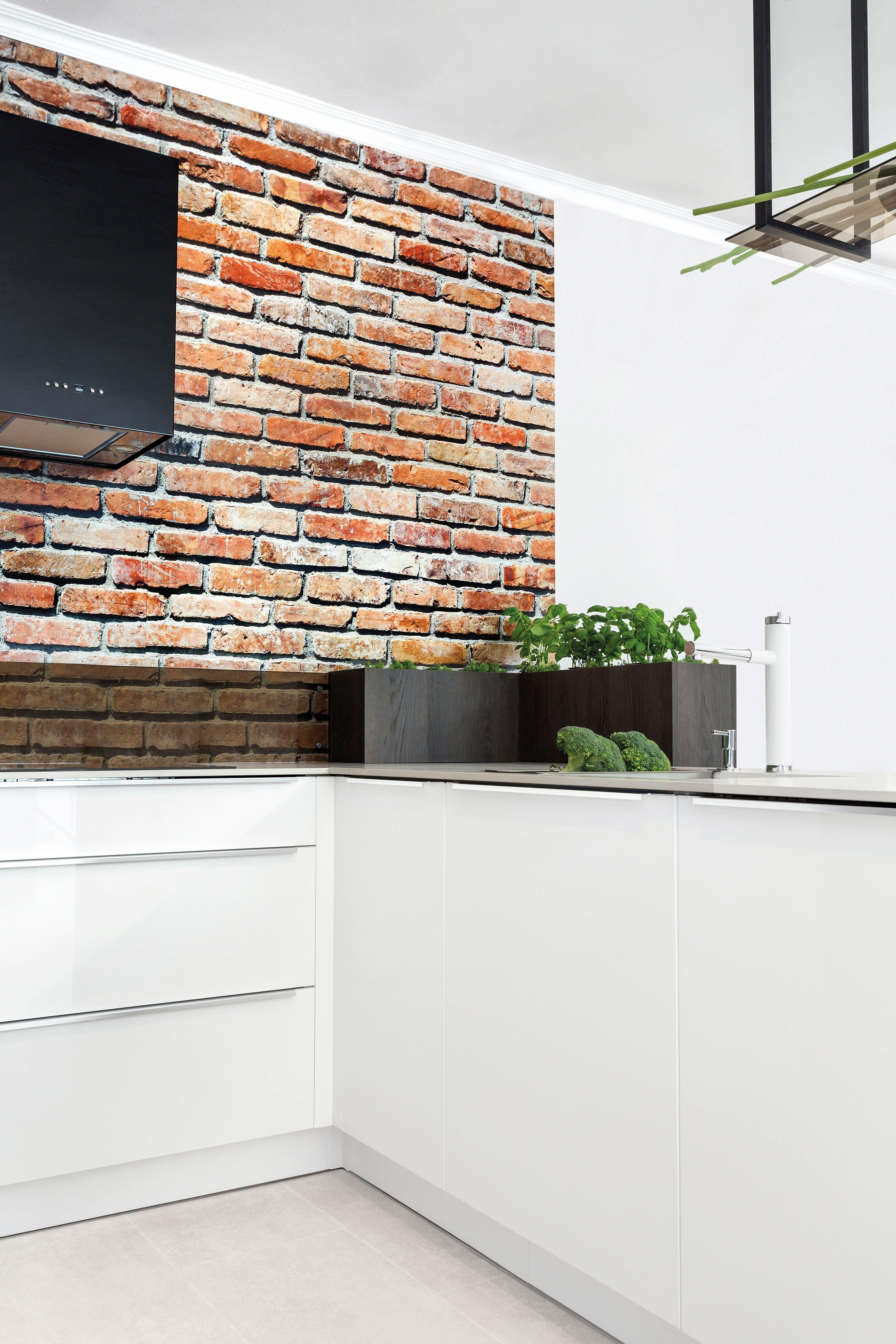 Efektowna Sciana W Cegle Sprawi Ze Biala Kuchnia Straci Swoj Sterylny Charakter Kuchnia Aranzacja Studio Inspiracje Aranzacja Des Decor Home Home Decor