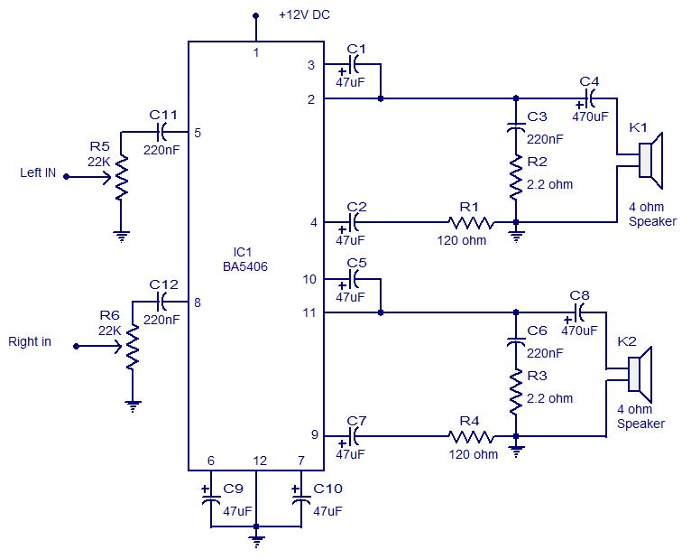ba5406 stereo amplifier | 전자회로 | pinterest, Wiring circuit