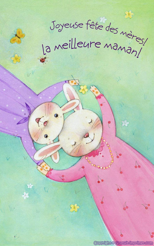 Carte Joyeuse Fete Des Meres Gratuite A Imprimer Lapin Joyeuse Fête Des Mères Joyeuses Fêtes Cartes Joyeuses Fêtes