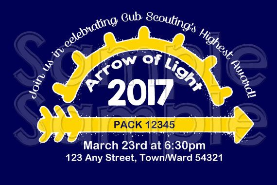 Arrow Of Light 106 Personalized Printable Invitation Digital